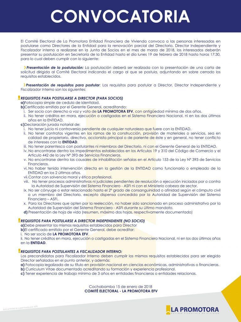 Convocatorias-Asamblea - LA PROMOTORA EFV